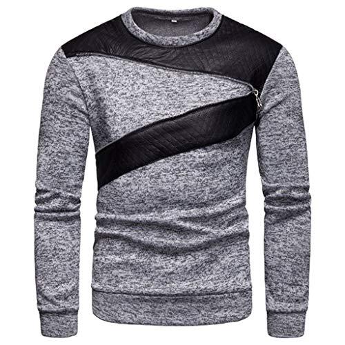 Xmiral Pullover Herren Langarm O Neck Bluse Patchwork Reißverschluss Design Shirt Top (L,Grau)