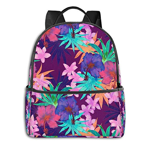 Heidi Tropical Floral Purple Daypack with Side Pockets, Travel and Sport Backpack Rucksack Large Capacity College School Bookbag Anti-Theft Multipurpose