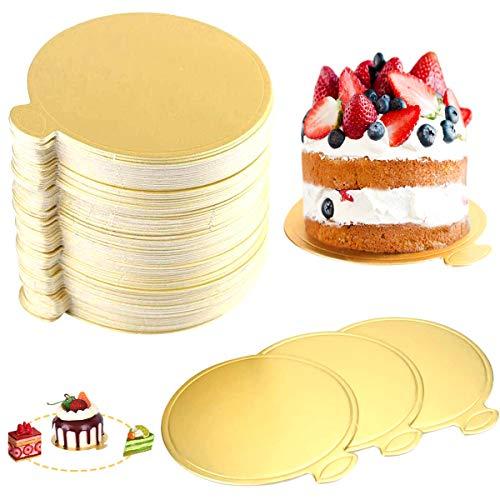 CGH 100 Unids/Set Mini Tableros de Pastel Dorados Bases de Pastel Tablero...