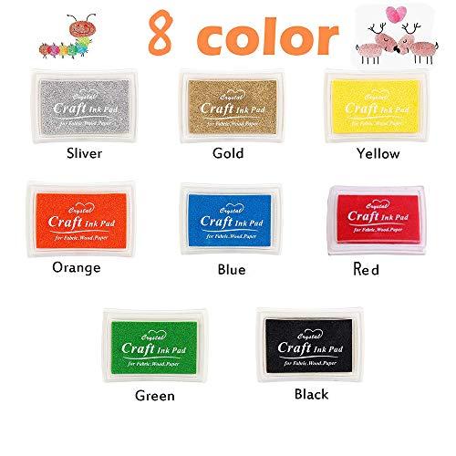 Almohadillas de sello de tinta, Almohadillas de tinta de color de dedo no tóxicas Tarjeta de bricolaje para sellos de goma, Papel, Scrapbooking, paño, Regalo para niños (8 colores)