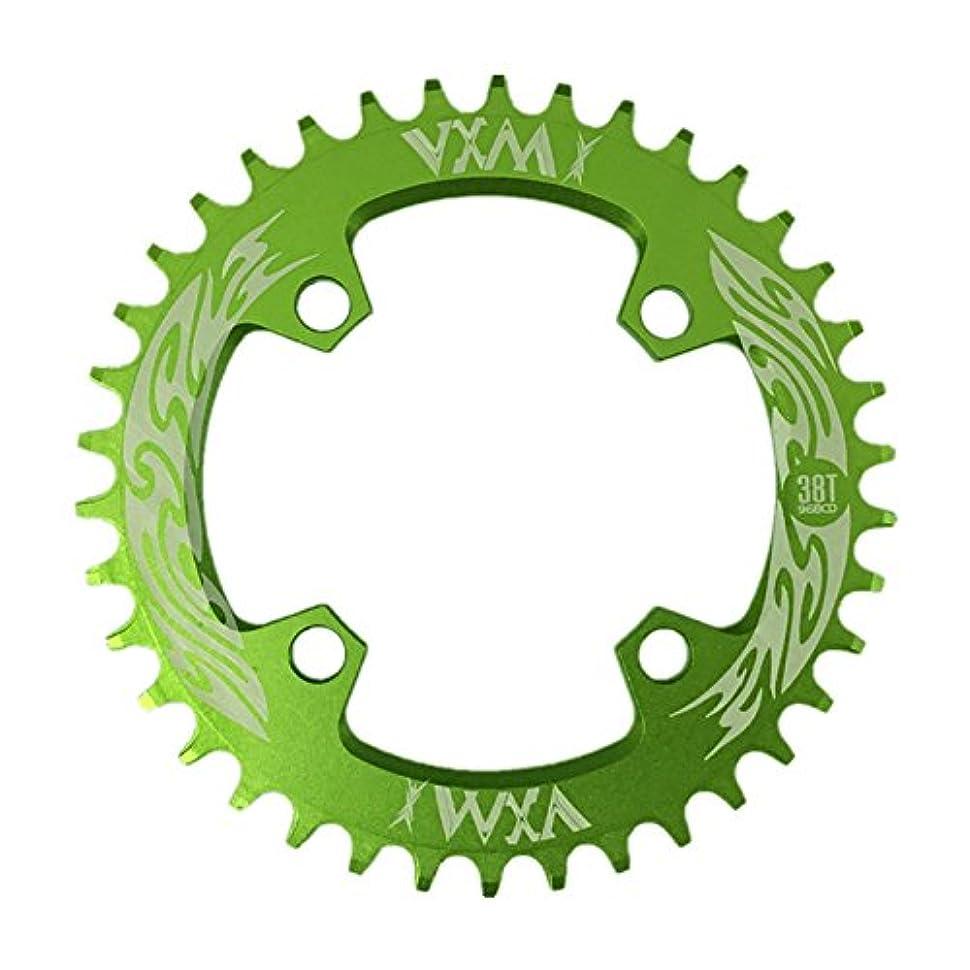 妖精床を掃除するPropenary - Bicycle Crank & Chainwheel 96BCD 38T Ultralight Alloy Bike Bicycle Narrow Wide Chainring Round Chainwheel Cycle Crankset [ Green ]