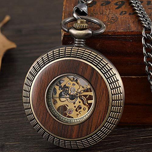 LOOIUEX Reloj de Bolsillo Retro círculo de Madera Tallada a Mano Antiguo Reloj de Bolsillo mecánico Bronce número Romano Reloj de Lujo para Hombres y Mujeres Colgante de Cadena