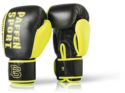 Paffen Sport Essential Echtleder-Boxhandschuhe für das Sparring und Training – schwarz/Neongelb – 10UZ