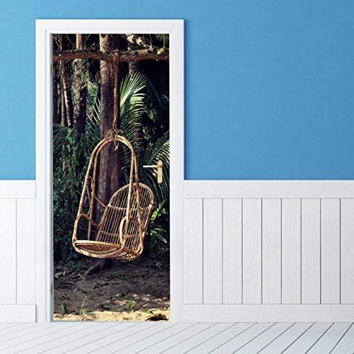 ZXCVWY Deur sticker Bos tuin schommel kleuterschool muur deur decoratie muur decoratie deur stickers woonkamer slaapkamer decoratie deur decoratie