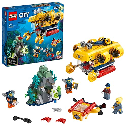 LEGO 60264 City Océano: Submarino de Exploración, Set de Construcción para Niños a Partir de 5 años con Dron Subacuático y Mini Figuras