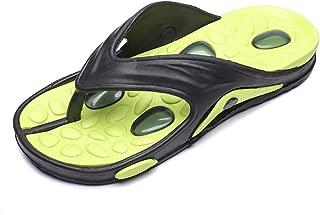 QinMei Zhou Men's Thong Flip Flops Beach Slippers PU Leather Non-Slip Sole Sandals (Color : Green, Size : 7 UK)