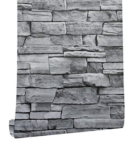 HaokHome 1633M Papel Tapiz 3D Rústico Realista Gris y Plata Efecto de piedra erosionada Papel tapiz / Adhesivo autoadhesivo extraíble Pegatinas de papel de...
