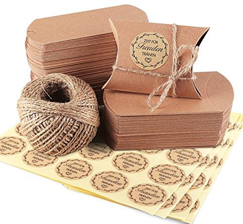 ABSOFINE 100x Kraftpapier Tüten Freudentränen Hochzeit Gastgeschenke Vintage-Stil Geschenkboxen 7x9cm mit Juteschnur 60M und Freundentränenstricker Aufkleber 100xØ 3,5cm für Geschenk Party