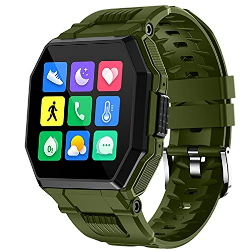 SHUBIAO Smart Watch Men, Bluetooth Llamada música a Prueba de Agua Smartwatch, Sencillez Elegante Pedómetro Deportivo al Aire Libre Reloj Inteligente, para iOS Androide (Color : S9 Green)