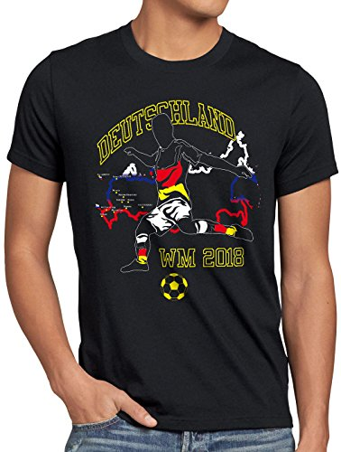 style3 WM 2018 Deutschland Herren T-Shirt Fußball Weltmeisterschaft Trikot Germany, Größe:L, Farbe:Schwarz