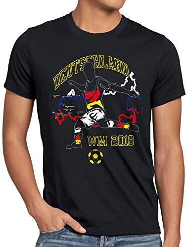 style3 WM 2018 Deutschland Herren T-Shirt Fußball Weltmeisterschaft Trikot Germany, Größe:S, Farbe:Schwarz