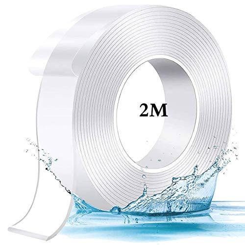 超強力 両面テープ 1m/2m/3m5m 魔法のテープ 防水 ナノテープ マジックテープ 魔法 両面テープ 強力 多機能テープ 透明 耐熱 滑り止め 洗濯可能 で繰り返 (厚さ:2mm 全長:2m 幅:3cm)