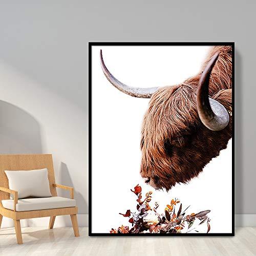 Wandkunst Highland Kuh Blumendruck und Poster Tier Rinder Moderne Leinwand Kunst Gemälde, Für Wohnzimmer Home Wand Dekor Kein Rahmen (Size : (15.7x23.6inch)40x60cm unframed)