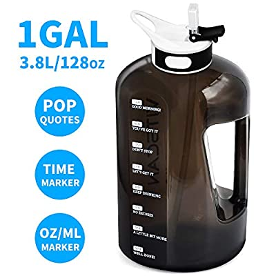128OZ/1 Gallon Water Bottle with Straw Motivational Water Bottle with Time Marker, Large Water Bottle 128 Oz Water Bottle, Big Water Jug for Sports Water Bottles, Two Handles BPA Free (Black)