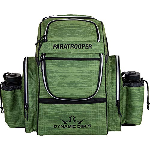 Dynamic Discs Paratrooper Disc Golf Bag | Frisbee Golf Backpack Bag with 18+ Disc Capacity | Extra Storage Pockets | Padded Straps and Back Panel | Durable Construction (Green Scratched Camo)