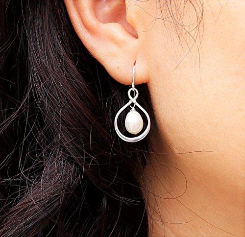Delicate Infinity and Pearl Earrings, Dangle Infinity Drop Earrings, Flower Girl, Bridesmaid Gifts, Sister, Best Friend Jewelry, Gold, Sterling Silver, Rose Gold Earrings