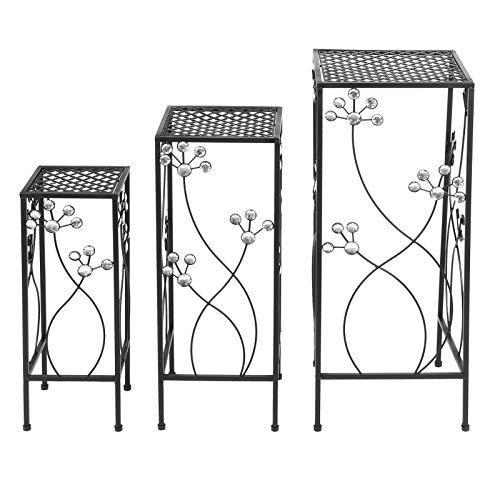 Negro Medio 23,6 x 9,1 x 9,1 pulgadas Rack de flores para exteriores grande 27,6 x 11 x 11 pulgadas Patio de hierro para jardín y patio