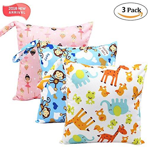 '3 Pack Baby humide et chiffon sec Sacs à langer étanche réutilisable avec poches à fermeture éclair, 11 x 11,8, animaux, 3 Pack, Animal3, 3