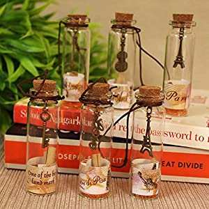 Gifts for Girlfriend / Boyfriend message bottle Package contains Set of 5 valentine gift love Message Bottles with Box Tied with Ribbon . Size of Box : 9 X 7 CM . Glass Message Bottle size : 7 cm . A set of decorated glass bottles with rolled note wi...
