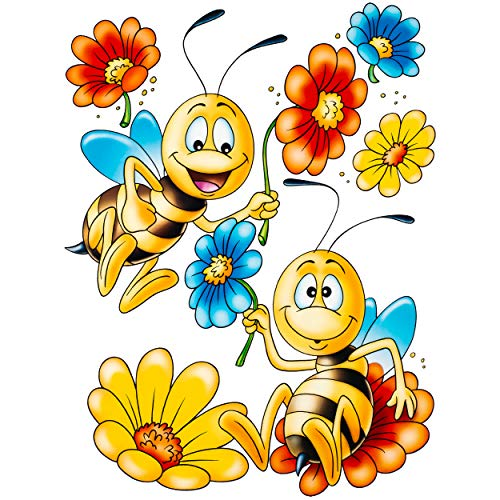 alles-meine.de GmbH 2 Stück _ Fensterbilder _ Motivwahl _ Tiere - lustige Bienen & Blumen - statisch haftend - selbstklebend + wiederverwendbar - Set Sticker Fenstersticker Aufkl..