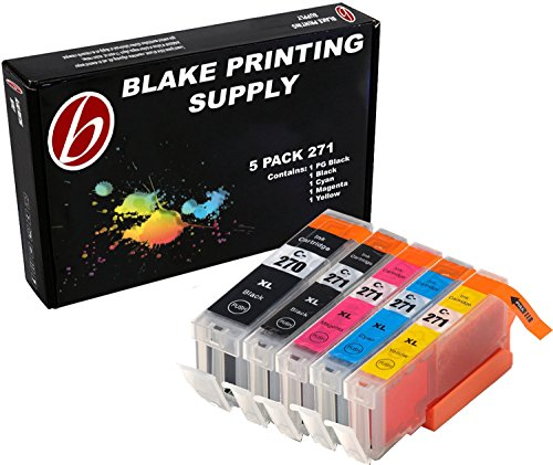 Blake Printing Supply 5 Pack Ink Cartridges for 270XL 271XL PIXMA MG5720 MG5721 MG5722 MG6820 MG6821 1 Small Black, 1 Cyan, 1 Magenta, 1 Yellow, 1 Big Black.
