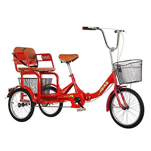 SN 16 Pulgadas De Triciclos Adultos, Bicicletas 3 Ruedas Trikes, Bicicletas Tres Ruedas para Personas Mayores Hombres Rojos con Asiento Trasero Y Canasta Compras (Color : Red)