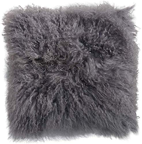 Hollert Lammfellkissen Tibet lockige Wolle 40 x 40 cm + Inlett Daunenkissen echtes Schaffell Zierkissen Dekokissen Sofakissen Farbe Grau