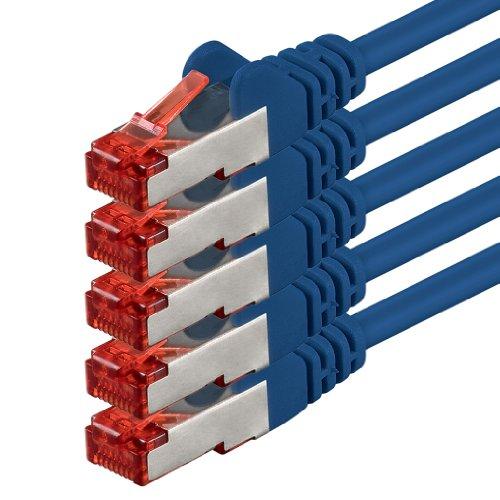Netwerkkabel Cat 6-5m - blauw - 5 stuks Ethernetkabel Lankabel Cat6 Sftp Patchkabel Set 1000 Mbit s