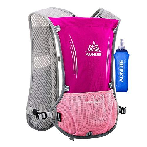 AONIJIE 5L multifunción Mochilas de hidratación, Ideal para Deportes al Aire Libre, acampadas, Ciclismo, Carreras, Alpinismo o Senderismo, Incluye 1 * 500 ML Botella de Agua (Rosa roja)