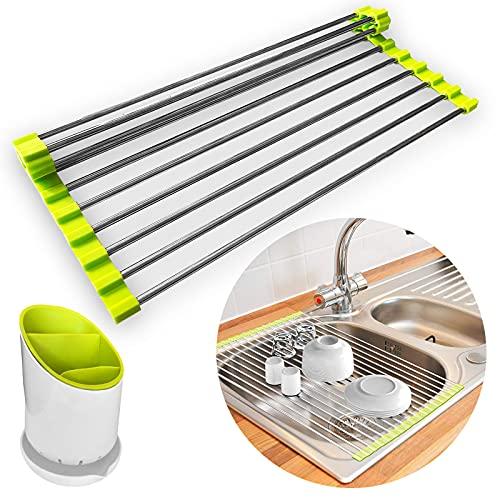 Escurridor platos plegable para cocina sin BPA. Escurreplatos enrollable sobre fregadero, incluye escurridor cubiertos. Encimera cocina de rejilla metalica para utensilios de cocina.