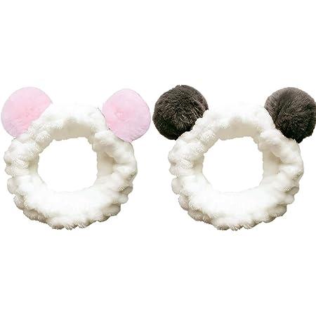 2pcs - Bella fascia per capelli delle donne elastiche, Spa Shower Face Washing Hairband Fascia per capelli Make Up Wrap Fascia, per lavare il viso, trucco, terme e massaggi (Panda)