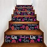 Valentinstag Element kreative selbstklebende Treppenaufkleber Digitaldruck-001-mehrfarbig_18 * 100cm * 6pcs / 360g