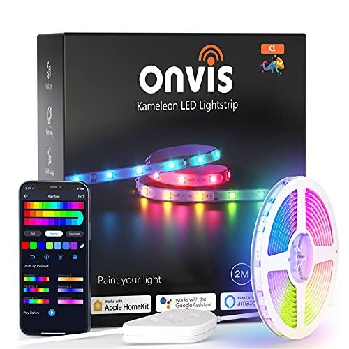 Onvis taśma LED RGBIC, 2 m, taśma LED z malowaniem/tańcem muzycznym/animacją barwną, działa z Apple HomeKit, Siri, Alexa, Google, na imprezę, urlop, DIY, nie jest wymagany hub