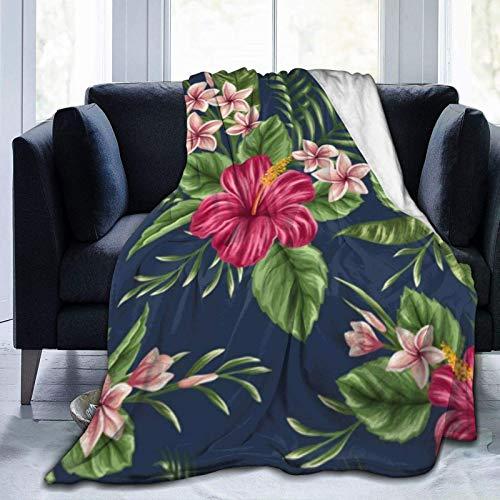 Flor tropical frangipani hibiscus nature family Manta de tiro ultra suave para cama forro polar de franela para todas las estaciones peso ligero sala de estar/coche/viaje manta c¨¢lida para ni?os adul