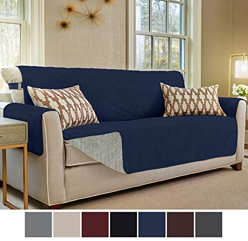 Gorilla Grip Original Slip Resistant Large Sofa Protector for Seat Width up to 70 Inch, Patent Pending Suede-Like Furniture Slipcover, 2 Inch Straps, Couch Slip Cover Throw for Dogs, Sofa, Navy Blue