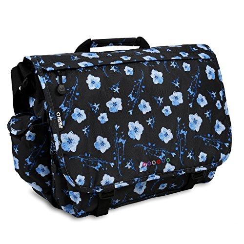 J World New York Thomas Laptop Messenger Bag for Women and Girls, Night Bloom, One Size