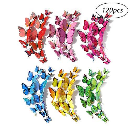Decorazione farfalle, robusta decorazione farfalla in plastica per la decorazione murale, stanza dei bambini (120 pezzi in 24 blu, 12 rossi, 12 verdi, 24 gialli, 24 rosa, 24 rossi) (multicolore)