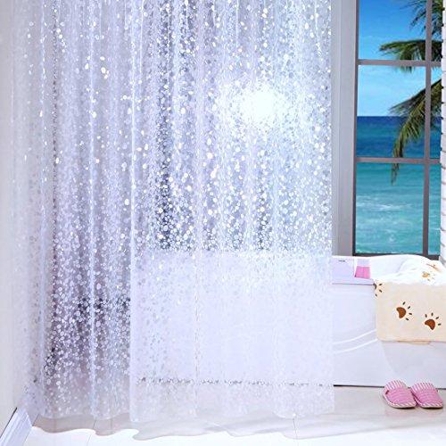 Duschvorhänge, transparent, weiß, wasserfest, schimmelfrei, 100prozent PEVA, transparent, Duschvorhänge mit Duschvorhanghaken, Textil, Transparent/Weiß, 120x180cm