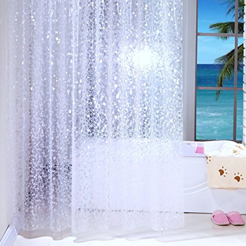 Rideau de douche transparent blanc, étanche, 100% PEVA avec crochets, Tissu, claire, 120x200cm