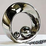Hermosa escultura SPIN plata de cerámica con 2 bolas de color plata, altura 21 cm
