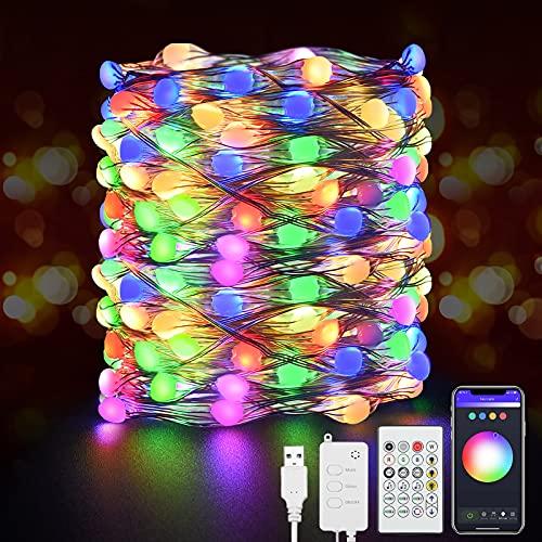 DeepDream RGB LED Lichterkette 7M Smart WiFi Bluetooth KupferDraht Lichterkette APP Gesteuert, Musik Sync, Kompatibel mit Alexa und Google Assistant für Innen Zimmer Balkon Party Weihnachten Dekor