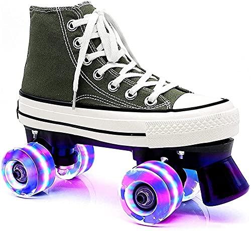 KUXUAN Zapatos de Patines de Ruedas para Niños con Patines de Luz LED Zapatos de Patinaje de Lona de 4 Ruedas para Adultos,Green-44