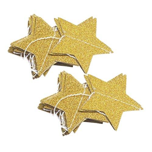 VORCOOL 2 Stücke 2 Mt Gold Stern Girlande, Glitzer Girlande Banner für Hochzeit Geburtstag Baby Shower Party Dekor