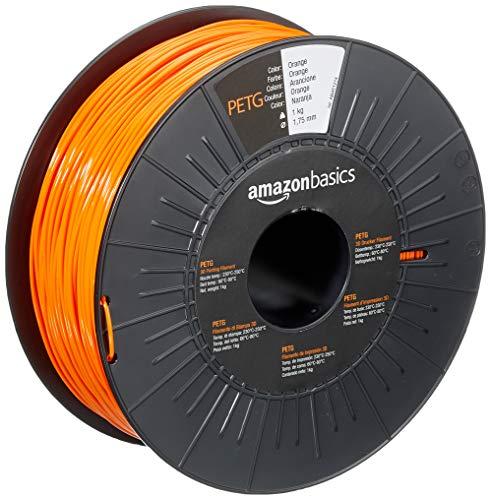 AmazonBasics 3D-Drucker-Filament aus PETG-Kunststoff, 1,75 mm, Orange, 1-kg-Spule