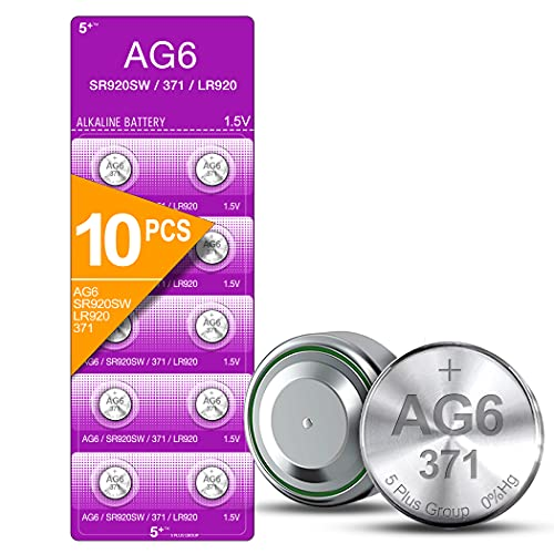 5Plus Group 10 PCS SR920SW 371 LR920 AG6 370 1.55V Button Cell Watch Batteries Used in Watches, Calculators, Toys, Lasers, Clocks, Thermometers, and Many Other Electronic Items