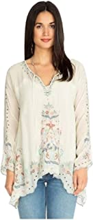 Johnny Was Women's Lena Tie-Neck Embroidered Georgette Tunic, Shell, Medium