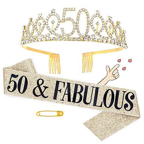 Juego de tiara de corona y faja de cumpleaños, diadema de tiara de 50 cumpleaños para mujer, decoraciones de cumpleaños personalizadas, regalos de cumpleaños ideales y suministros para fiestas