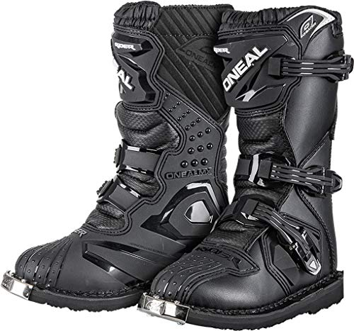 O'NEAL | Motocross-Stiefel | Kinder | Motocross Enduro | Integrierter Zehenschutz, Dank Air-Meshgewebe, leicht verstellbare Verschlussschnallen | Rider Youth Boot | Schwarz | Größe 13/33