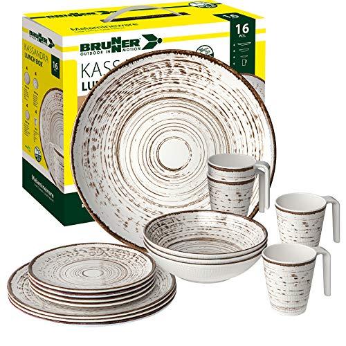 Brunner: vajilla de melamina para camping, 4 personas (16 piezas), caja de almuerzo Kassandra, para camping, barbacoa y picnic.