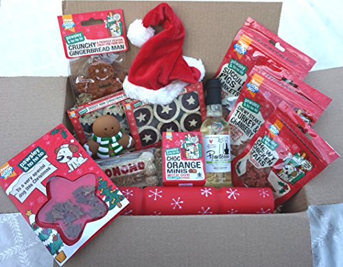 THE ULTIMATE LUXURY DOG CHRISTMAS HAMPER WITH TREATS TOYS HAT CARD & WHITE WINE